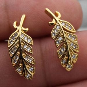 Jewelry - 2/$20...18K Gold Filled + Zircon Feather Earrings